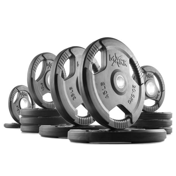 XMark Rubber Coated Tri-grip Olympic Weight Set