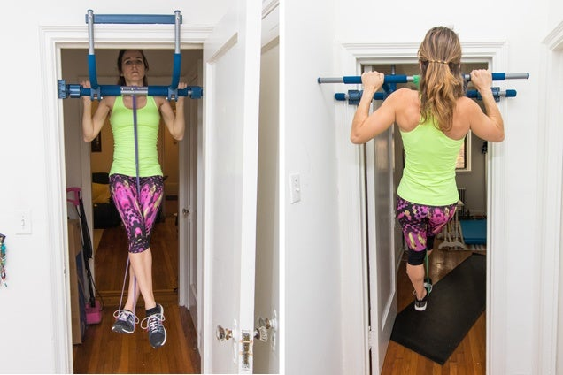 A lady in yellow doing Assisted Pull-Upsexercise